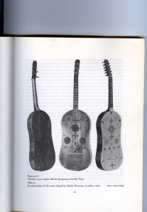 "Vihuela replica beside the original from ""The Early Guitar"" by James Tyler"