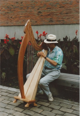Carlos Sanz playing my first Joy 38 Floor Harp, Taos NM