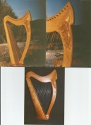 Oriel 23 Travel harps with Rose carvings
