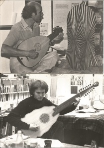 In the lower photo, Jacob Lundburg is trying out his new Bandora in my workshop beside the London Early Music Center