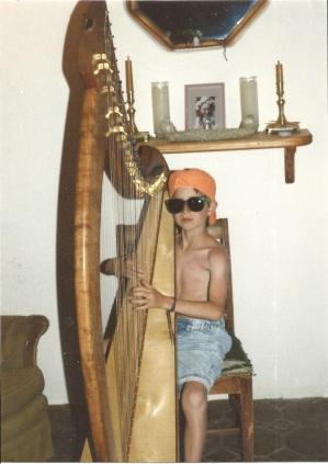 My son Elisha on the Joy 38 at his harp lesson in Cheltenham, UK