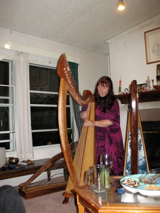 Christina Tourin playing the Joy 38 at a house concert in Lorien